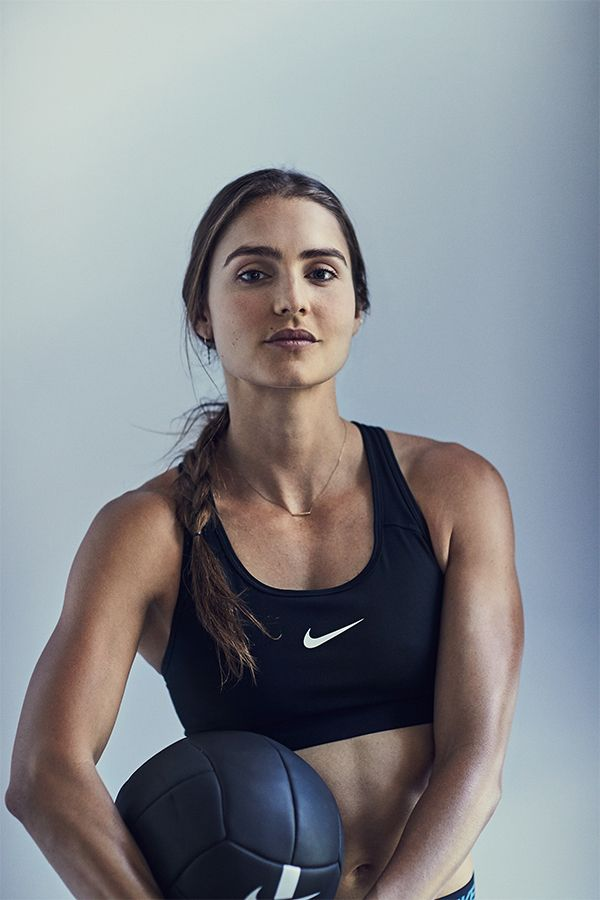 """In her own words, New Zealand Nike Master Trainer Kirsty Godso is """"addicted to fitness."""" Her training takes her from the gym to the track and back, and the Nike Pro Classic Sports Bra keeps her dry and supported through every sweat."""
