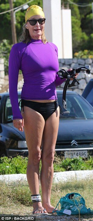 Bo Derek. Snorkel chic! Taking her place as one of the thousands of participants in the Spetses Mini Marathon series over the weekend, the Hollywood star looked stunning in a figure-hugging purple swimming top and a tiny pair of bikini bottoms. 09/10/2017.