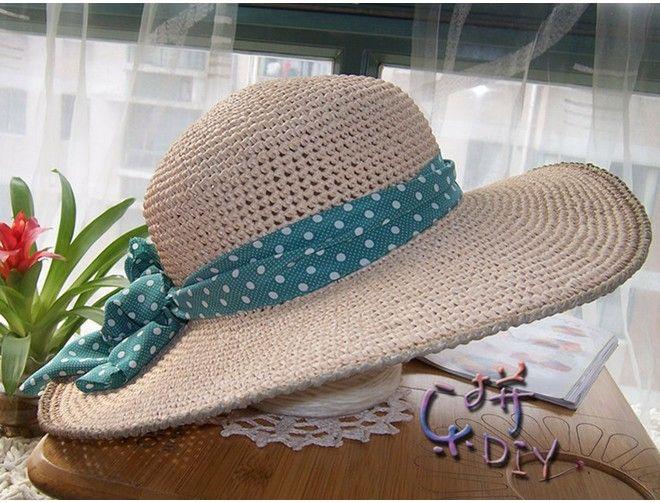 Летняя шляпка женская с широкими полями,вязаная крючком из ...
