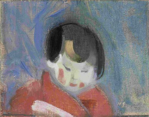 Helene Schjerfbeck - Punapukuinen tyttö (Kiinalaislapsi) 1917