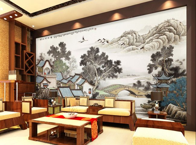 83 best papier peint asiatique images on pinterest for Mural de chine