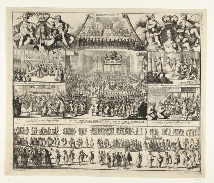 Romeyn de Hooghe   De kroning van Willem en Maria tot koning en koningin van Engeland, 1689, Romeyn de Hooghe, 1689   Overzicht in twee grote en vijf kleinere scènes van de gebeurtenissen bij de kroning van Willem en Maria tot koning en koningin van Engeland in de Westminster Abbey, 21 april 1689. In het midden de kroning zelf, onderaan de processie. Bovenaan portretten van Willem (links) en Maria (rechts).