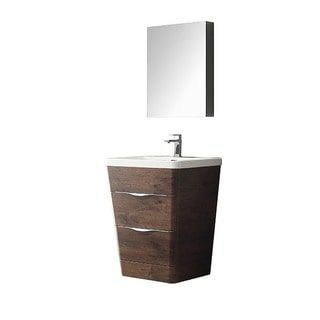Make Photo Gallery Fresca Milano inch Rosewood Modern Bathroom Vanity with Medicine Cabinet