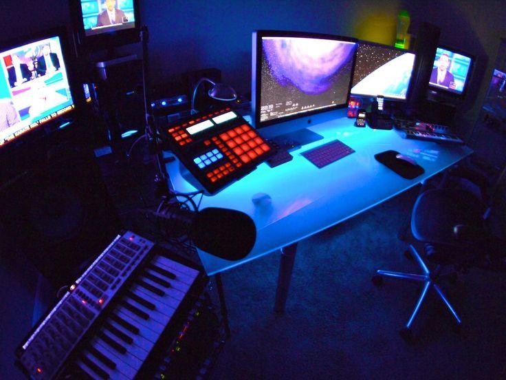 black light under the desktop home recording studio pinterest home recording studios. Black Bedroom Furniture Sets. Home Design Ideas