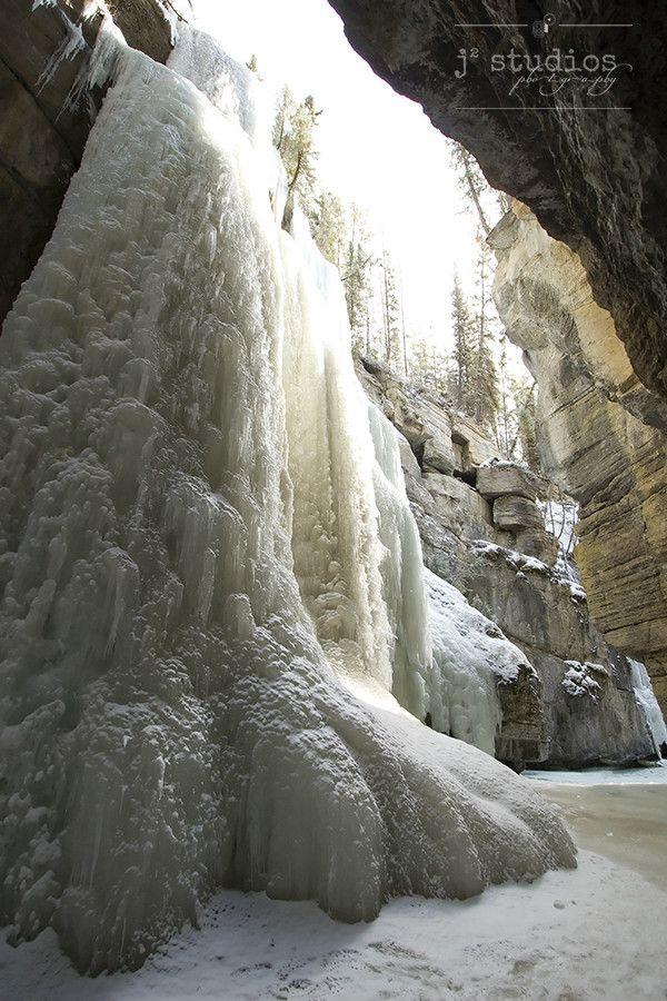 Icewalk is an art print of the frozen Maligne Canyon in Jasper National Park, Alberta.