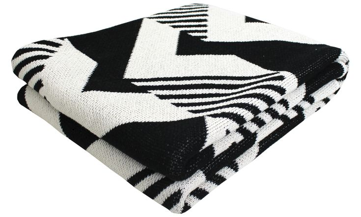 Derailed Eco Throw- Black and Ivory by Happy Habitat.jpg