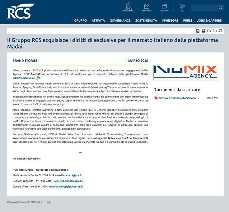 Il Gruppo #RCS acquisisce i diritti di esclusiva per il mercato italiano della piattaforma #Madai