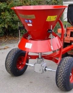 Fertiliser spreader 50 litre. The ATV spreaders can be towed or mounted on a quad bike to disperse grass seed, fertiliser onto the land to maintain the fields encouraging healthy growth. For more info: http://www.fresh-group.com/spreaders.html