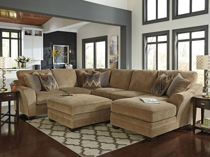 Leather Sleeper Sofa Canyon large modern brown chenille living room sofa couch chaise sectional set