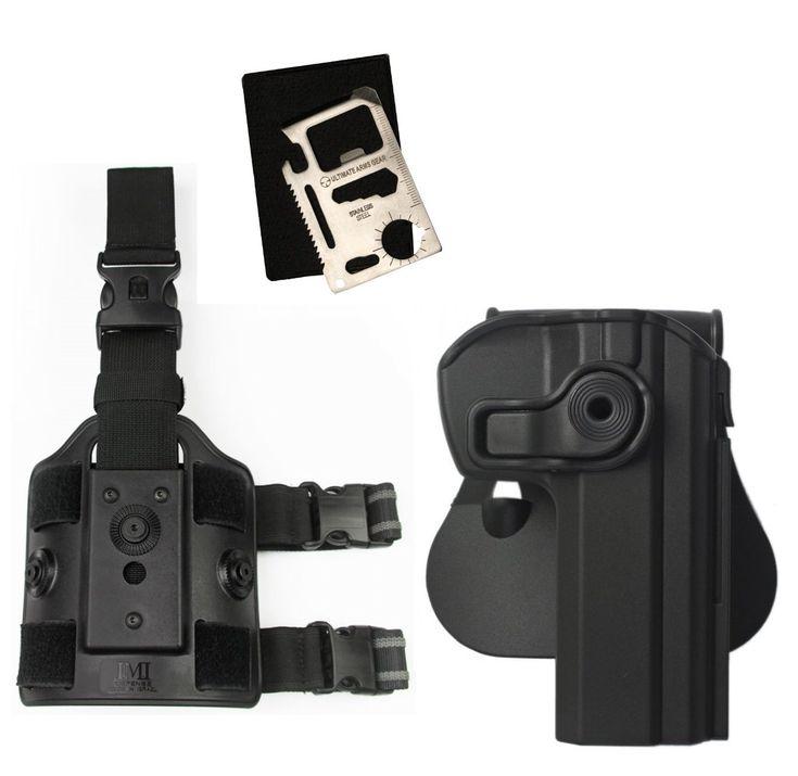 IMI Defense Z1340 360° Rotate Holster CZ75 SP01 Shadow/Tactical, CZ75/CZ75D Compact, CZ 75 Tactical Sports, Black + Z2200 Drop Leg Platform + Ultimate Arms Gear Multi Tool