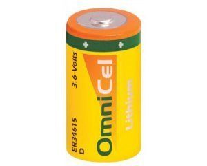 OmniCel ER34615 3.6V 19Ah Size D Lithium Button Top Battery by Omni. $10.70. This Size D ER34615 Lithium Thionyl Chloride battery is ideal for and widely used in utility metering, alarms and security devices, memory back-up, tracking Systems, SART and EPIRB devices and many others.  This size D ER34615 Lithium Thionyl Chloride battery is an ideal long lasting power source for gas meters and water meters. Lithium Thionyl Chloride has the highest energy density of ...