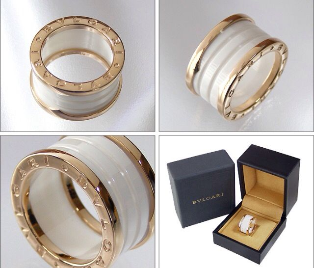 bvlgari ring in rose gold plated with white ceramic see more ceramic wedding ring
