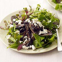 Salade à la féta et aux champignons marinés