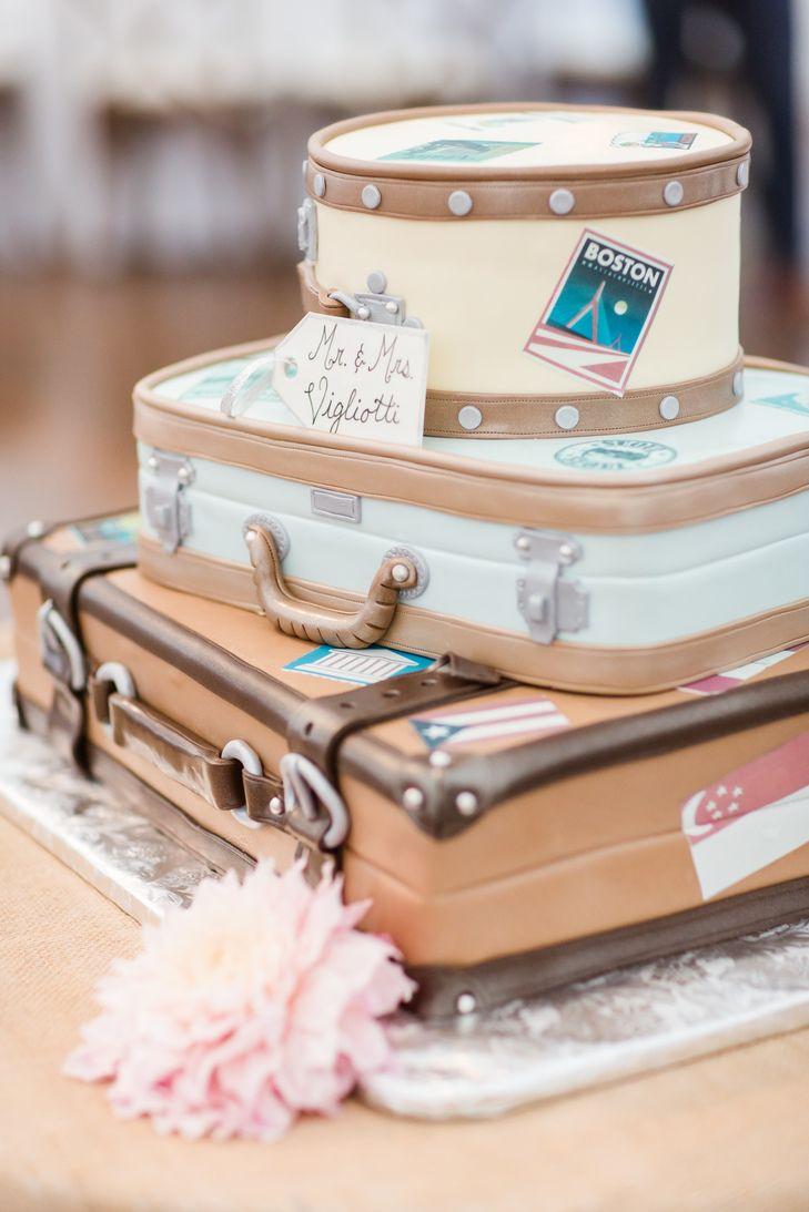 Travel-Themed Suitcase Stack Wedding Cake | Photo: Servidone Studios Photography | Cake: Wilson Farm |