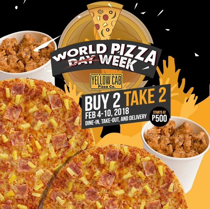 #WorldPizzaWeek Buy 2 Take 2 Promo @ Yellow Cab Pizza. CLICK HERE for more details: https://dealspinoy.com/worldpizzaweek-buy-2-take-2-promo-yellow-cab-pizza/. #DealsPinoy
