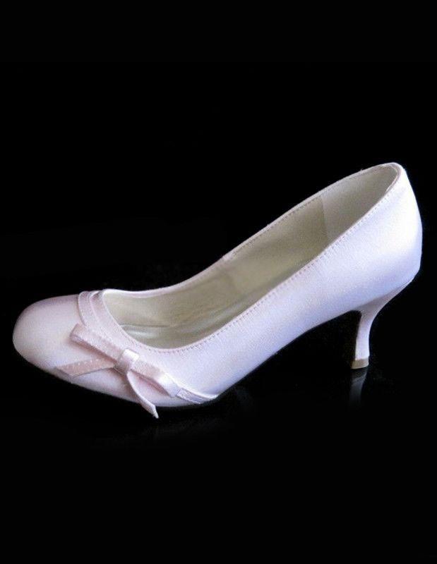 pink satin bowknot wedding pumps wedding shoes wedding