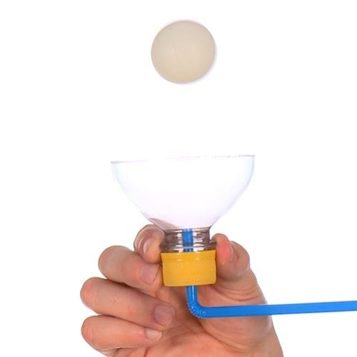 Floating Ping Pong Ball at Steve Spangler Science.  Link doesn't work, but you get the idea from the picture.  I have tried this with the straw and ball only and it is difficult, but possible.  The addition of the water bottle top seems like a much better way to do it especially with younger kids.