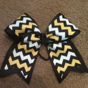 """Big 3"""" Cheer Bow Black yellow gold white chevron Steelers Practice allstar cheerleading Hair Bow also Great for Softball"""