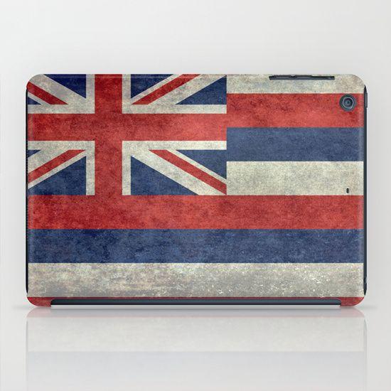 The State flag of Hawaii - Vintage version iPad Case #Hawaii #flag #Hawaiianflag #vintage #retro