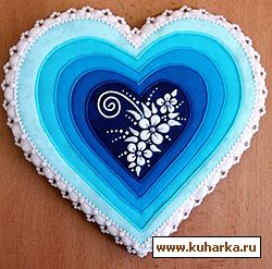 Heart in lace and blue, from www.kuharka,ru - Russian