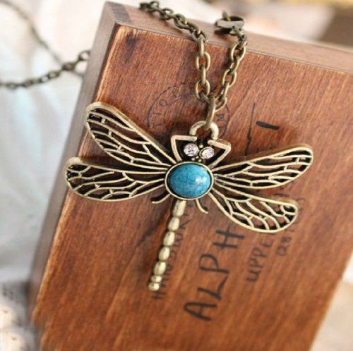 Some of the Cheapest Jewelry on Amazon (Under One Dollar) Can Make Cool Christmas Gifts. Classic Vintage Dragonfly Pendant and Necklace