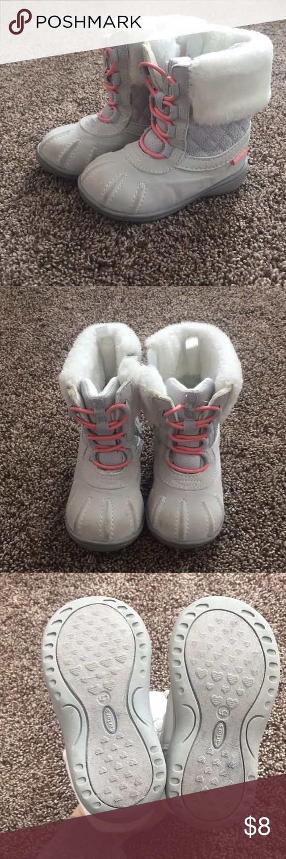 Adorable baby girl snow boots Size 5 Carters baby girl snow boots. Light wear. Carter's Shoes Rain & Snow Boots #babyrainboots