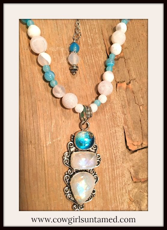 BOHEMIAN COWGIRL NECKLACE Rainbow Moonstone & Topaz SS Pendant Gemstone Beaded Necklace  #bohemian #choker #necklace #jewelry #shortnecklace #boho #cowgirl 3western #sterlingsilver #gemstone #beautiful #cowgirl #western #boutique #fashion #style