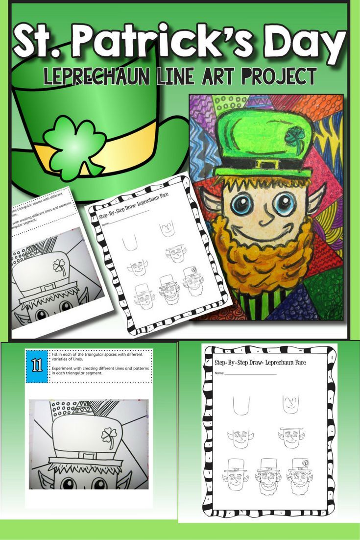 """Students will learn about the Element of Art """"Line"""" through creating a St. Patrick's Day Leprechaun line art piece using oil pastel and pencil crayon. Your students will really love this! This product is complete with a visual and text step-by-step (each step on its own page with description), a rubric for marking, a handout about """"What Is Line"""" that describes line as an Element of Art and how it's used, and a step-by-step how to draw the leprechaun to allow your students to create this…"""