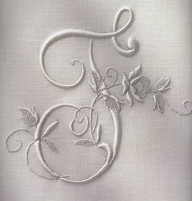 From an old, out-of-print french book on monogram embroidery.  The person who provided the photo said: I can't even remember where I got this book.  I must have picked it up when in Paris in the 1990s.