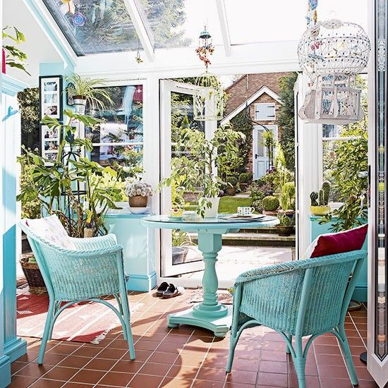 Colourful conservatory with wicker chairs | Decorating