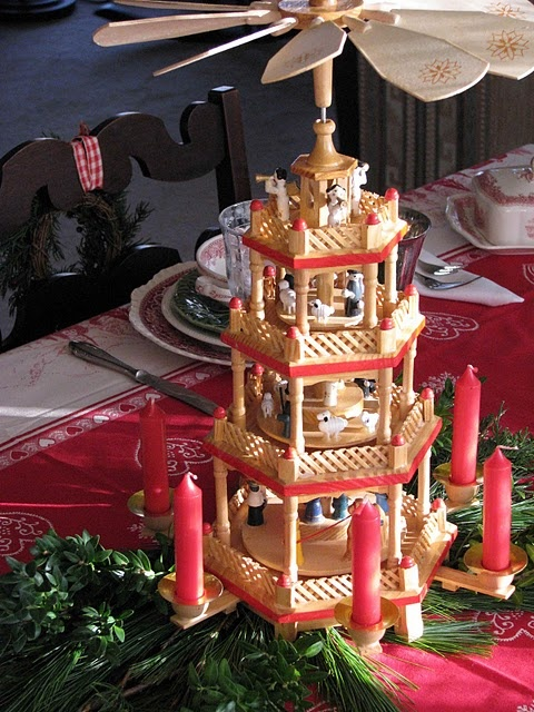 German Christmas pyramid... my mom has one of these and i love lighting it ad watching it spin every year...