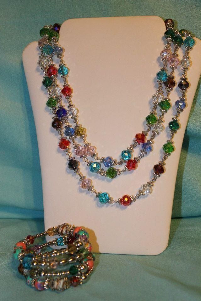 Jubilee necklace and Color Wheel bracelet Premier Designs Jewelry Lady - Amy Cobb