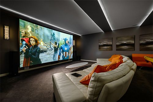 #hometheater #projector home theatre, surround sound, plasma tv, recliner sofa, acoustics, wall paneling, carpeting, false ceiling, lighting design, e…