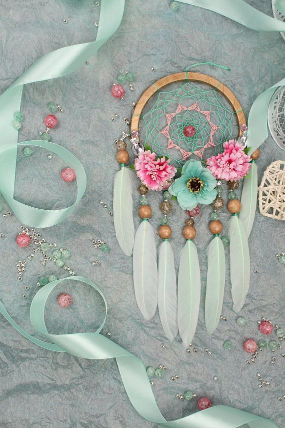 Dreamcatcher Mint Dream Catcher small Dreamcatcher baby Dream сatcher gift idea dreamcatchers boho dreamcatcher wall handmade idea gift mint This amulet like Dreamcatcher - is not just a decoration of the interior. It is a powerful amulet, which is endowe