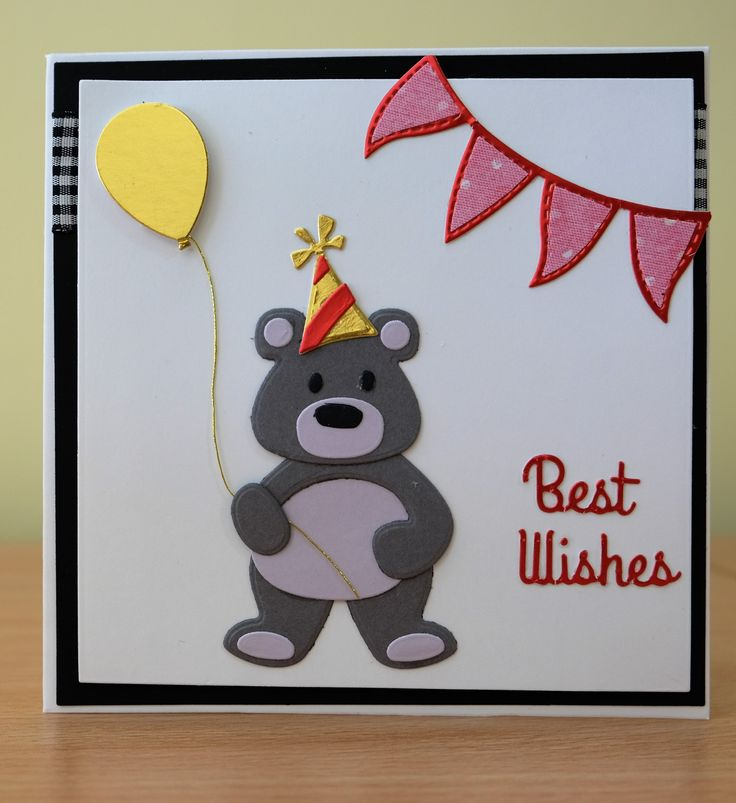 Handmade Birthday Card - Marianne Collectables Bear / Panda Die. To purchasemy cards please visit the CraftyCardStudio on Etsy.com.