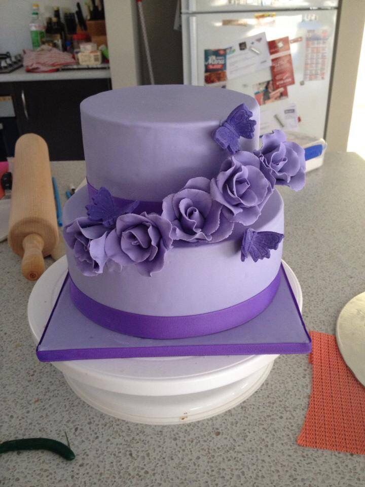 Two tiered rose birthday cake