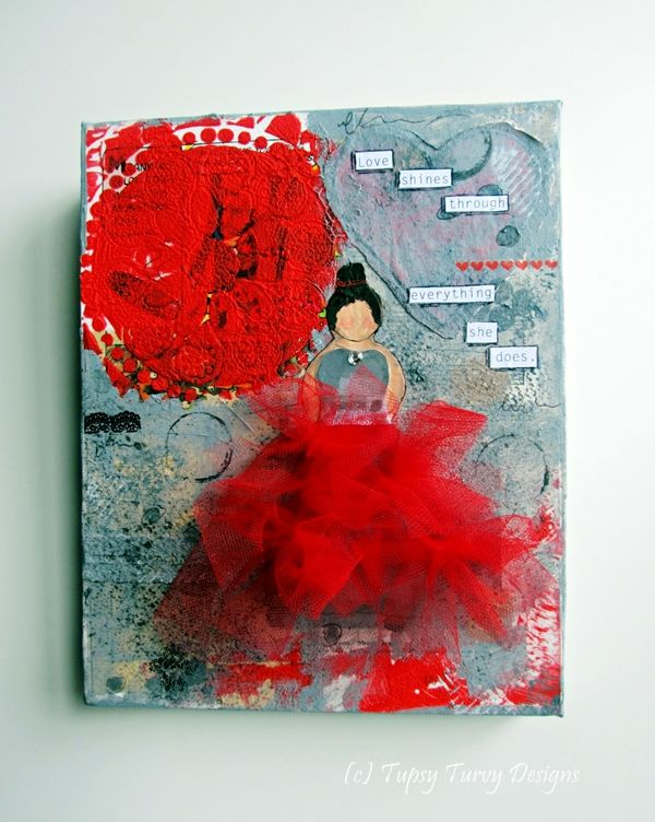 Ballerina/Princess mixed media canvas in red and grey www.madeit.com.au/TupsyTurvy