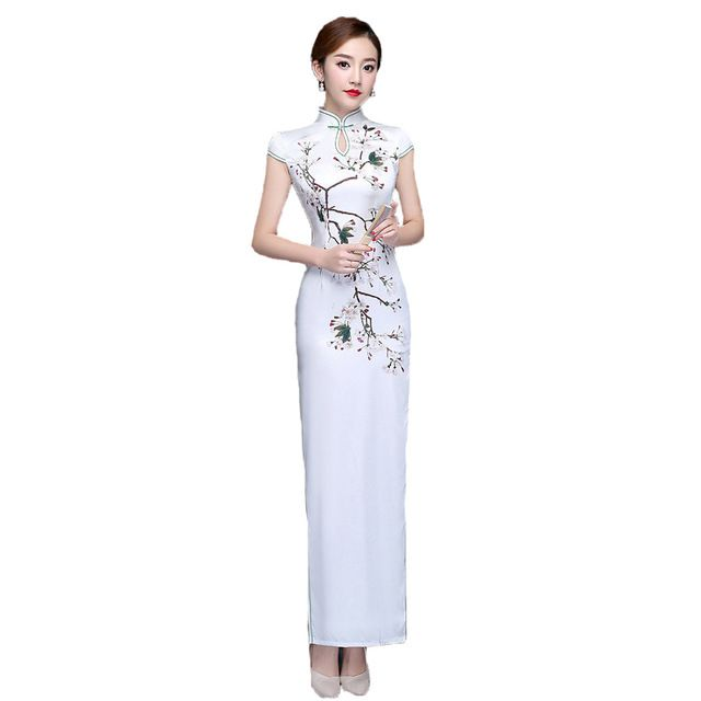 Sexy Open Fork Short Sleeve Women Dress High Waist Stand Neck Slim Printing White Literature Art Party Ankle-Length Cheongsam