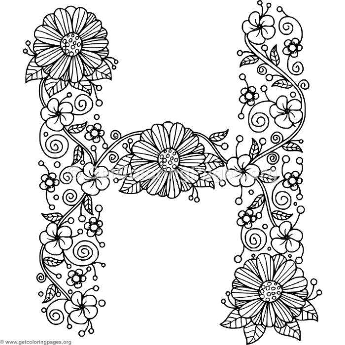 Free Instant Download Floral Alphabet Letter H Coloring Pages