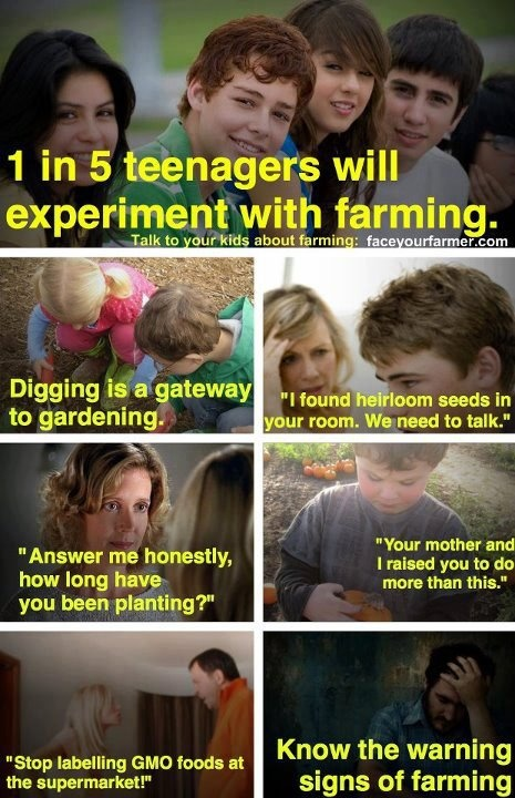 """1 in 5 teenagers will experiment with farming. """"Digging is a gateway to gardening"""" Hilarious!"""