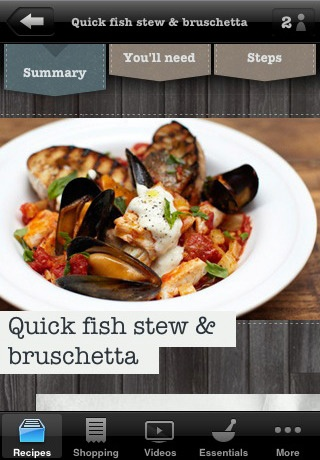 Jamie Oliver's 20 minute meals has a beautiful interface.