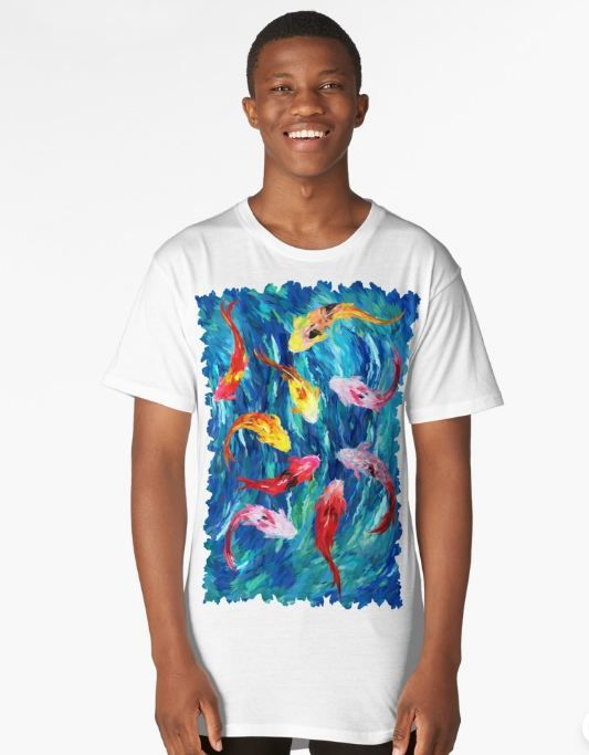 koi fish rainbow abstract paintings Long T-Shirt #longtshirt #tshirt #clothing #Fish #Koi #Dragon #Water #Sea #River #Exotic #Animal #Oil #Watercolor #Pattern #PopArt #Vintage #Shark #Aquarium #Ornament #Decoration #Ornamental #Dorry #Nemo #Finding #Beautiful #Tropic #Whale #Dory #Beauty #Rainbow #FullColor #Colorful #Acrylic #Blue #Teal #Japanese #Japan #Tattoo #Yakuza