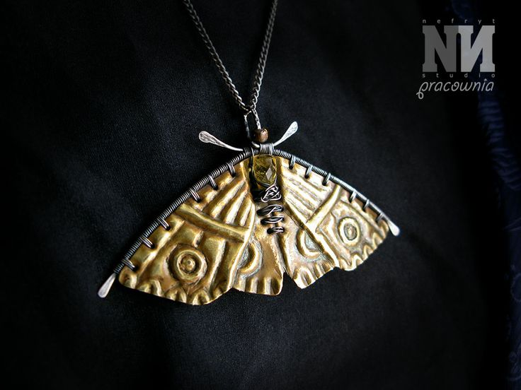 Pendant - Golden moth, made with brass, sterling silver and natural yellow sapphire briolette.
