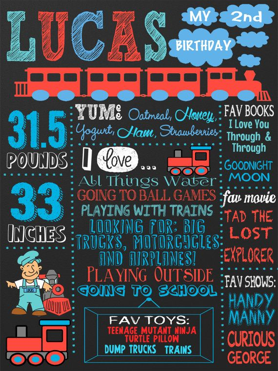 Train Birthday Party Themed Chalkboard For Any Age All Aboard Choo Unique Bday ID BRDAUT04 In 2019