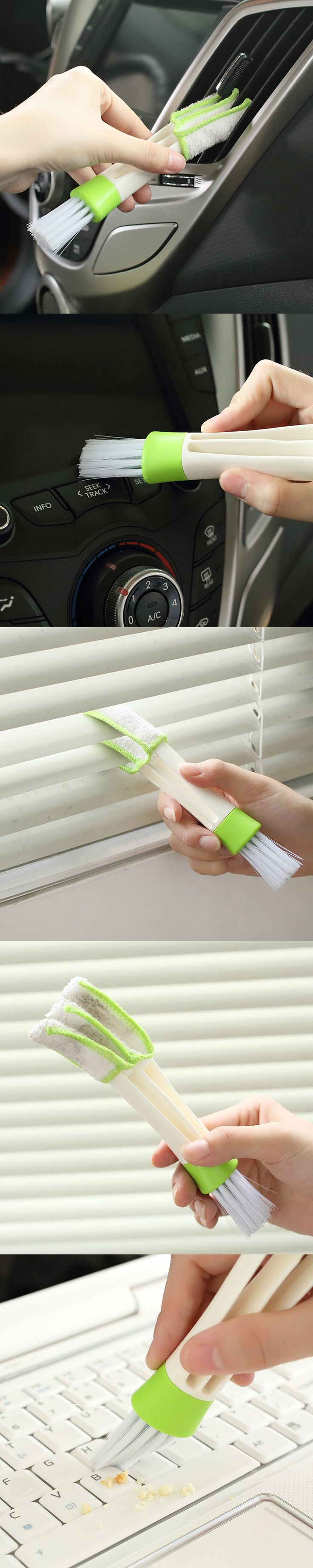 New Arrive Double Slider Car Air Conditioning Outlet Venetian Window Cleaning Brush Multi-purpose Blind Brush Dust Brush