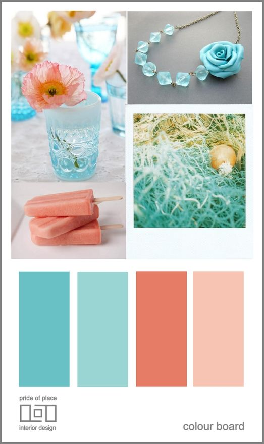 Teal and white with coral accents (paint bedside tables coral)