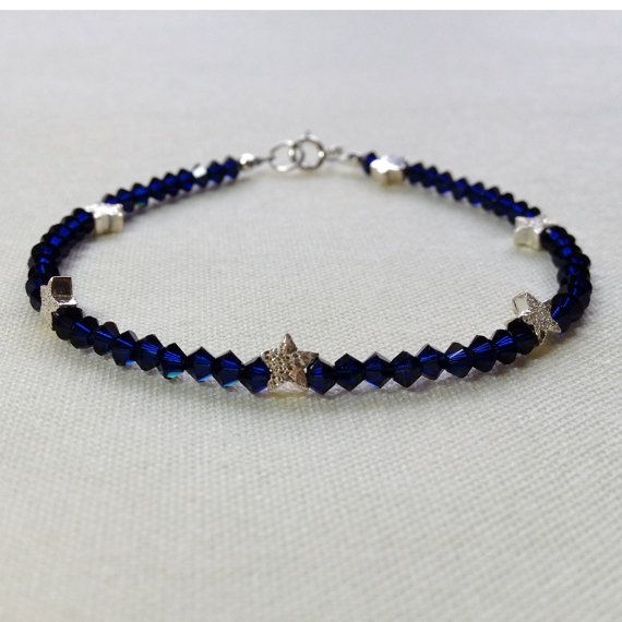 Indigo blue Swarovski crystal and sterling silver by TheGemString