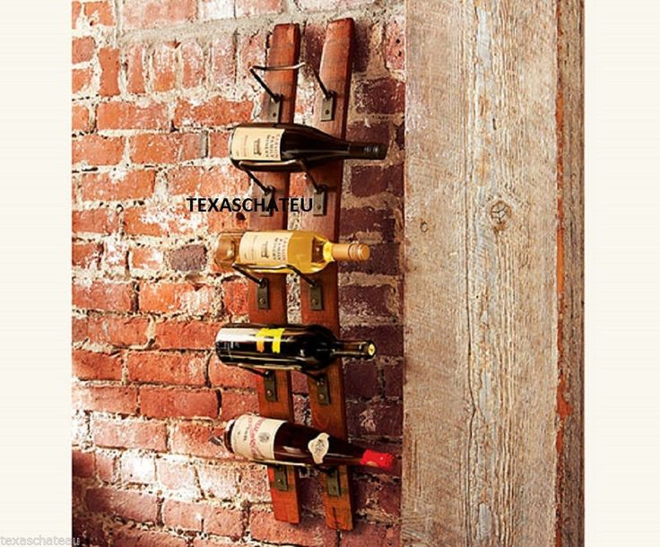 TUSCAN FRENCH COUNTRY WINE RACK OLD WORLD BARREL WOOD IRON Bottle Wall Holder