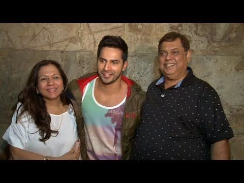 Varun Dhawan with father & mother at Dil Dhadakne Do's special screening.