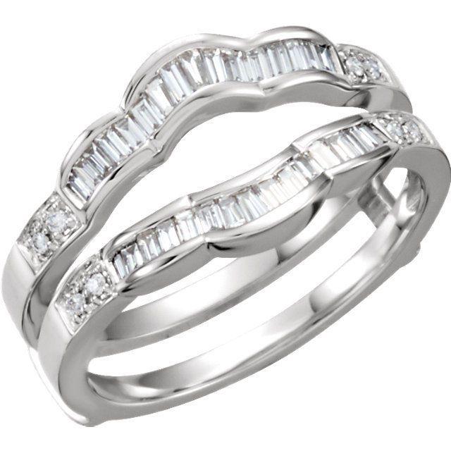 14k Gold .50ct Diamond Baguette Cut Solitaire Ring Guard Wrap Enhancer #eximjewels #WithDiamonds